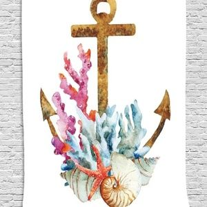 Tapestry Anchor Corals Print Wall Hanging Backdrop